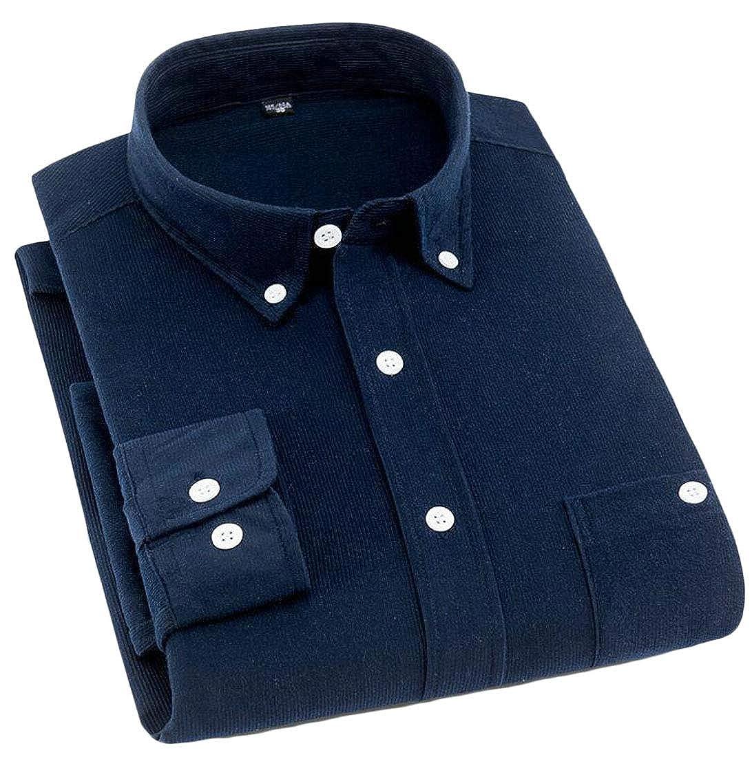 KXP Mens Solid Color Long-Sleeve Casual Slim Fit Corduroy Dress Shirt