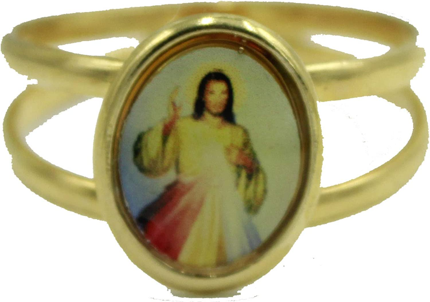 Diamantados of Fla Merciful Christ 18k Gold Plated Ring Cristo Misericordioso 18k Gold Plated Ring