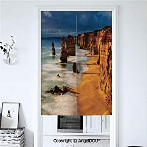 AngelDOU Coastal Decor Summer Automatic Closing Curtains Valances Twelve Apostles Australia Sunset Great Ocean Road Coast Cliff Washed by Sea Surf Picture Door Screen Partition Curta 33.5x47.2 inches
