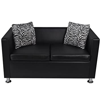 Amazon.com: Tidyard Sofa 2-Seater Artificial Leather Black ...