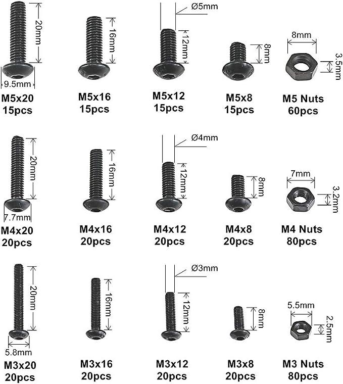schwarzer Karbonstahl-Linsenkopf 300 St/ück M3 Zylinderschrauben mit Innensechskant Schraubenmutter-Sortiment Kreuzschlitzschraube