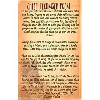 Amazoncom Wall Art Print Entitled Chief Tecumseh Poem Live Your