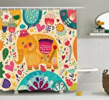 Ambesonne Elephants Decor Collection, Elephant with Colorful Pattern Child Art Hats Flowers Plants Leaves Summertime Image, Polyester Fabric Bathroom Shower Curtain, 75 Inches Long, Orange Pink