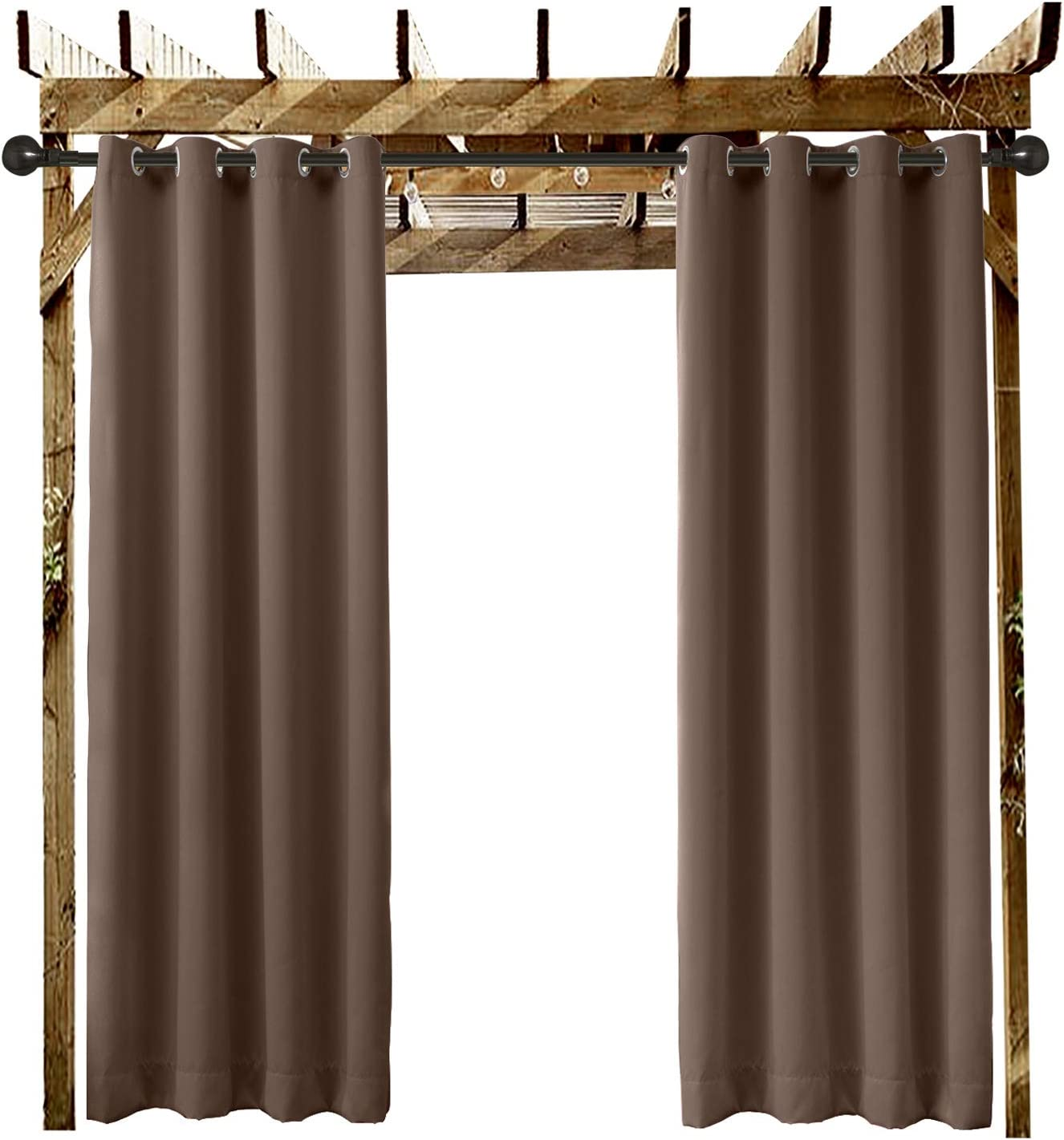 Covered Patio Outdoor Curtain Grommet Eyelet Chocolate 84 W x 102 L For Front Porch . and Beach Home Gazebo 1 Panel Dock Pergola Cabana