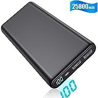 Yacikos Powerbank 25800mAh, Externer Akku Mit LCD Digital Display Portable Ladegerät,hohe Kapazität 2 USB Ports Output für Handy, Tablet und weitere Digitalgerät