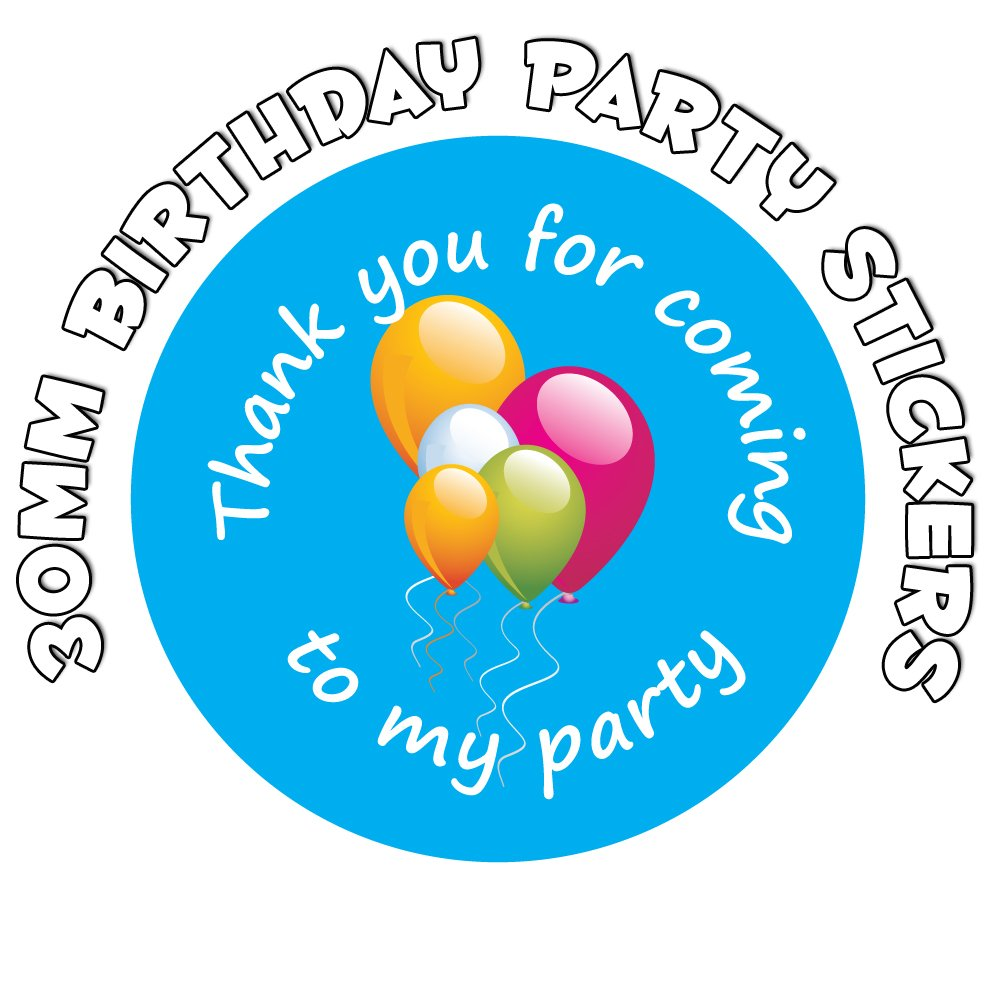 'Thank You For Coming To My Party' - 30mm Blue Party Balloon - Birthday Stickers (120) StickerZone