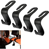 OFNMY 4 Pcs Car Vehicle Back Seat Headrest Hooks Back Seat Organizer Hanger Storage Hooks for Purse Groceries Bag Handbag (Black)