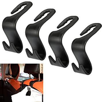 Car Headrest Hook Seat Back Hook Vehicle Car Safety Hanging Hook Backseat Headrest Hanger Storage for Groceries Bag 4pcs