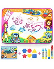 SUNYJOY 87*58CM Agua Dibujo Pintura, Alfombra de agua Doodle, Agua doodle esteras mágicas, Libro Mágico Del Dibujo Del Agua 4 bolígrafos(1 bolígrafo agua grande y 2 pequeños, 1 bolígrafo agua) - niños