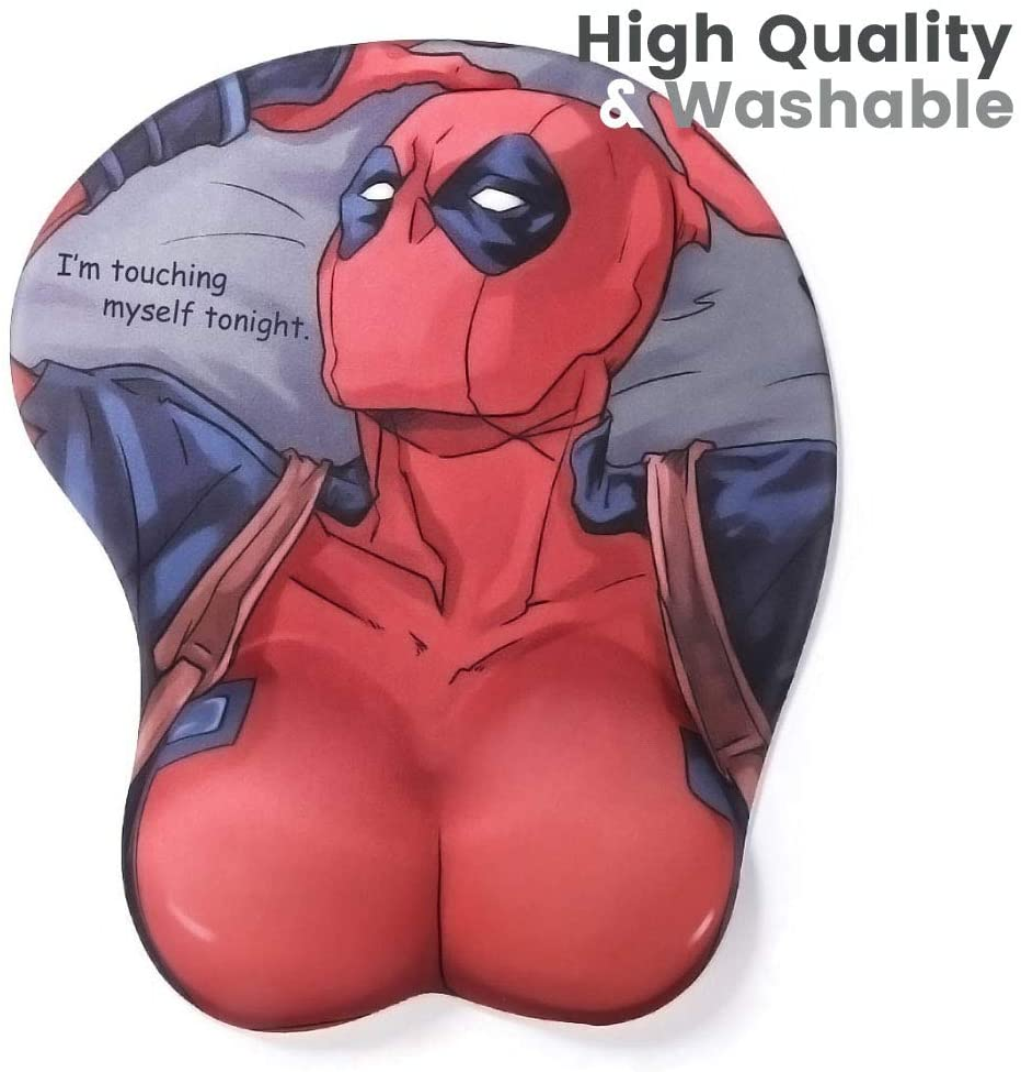 NIXLAOR Marvel Comics Deadpool Boobs 3D Mouse Pad with Wrist Support Rest Mat