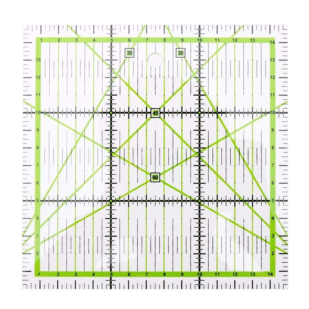 Demiawaking Quilting Patchwork Ruler Angle Circle Acrylic Drawing Template for DIY Sewing Patchwork Craft (16 x 18 cm)