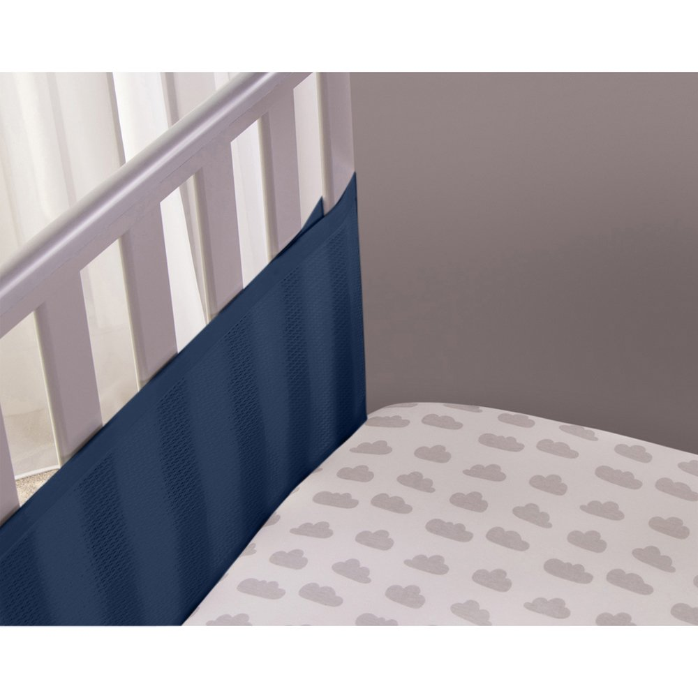 Safe Dreams 2 Sided Hypoallergenic Blue Cot Bumper - With Safebreathe Technology Gift and Baby