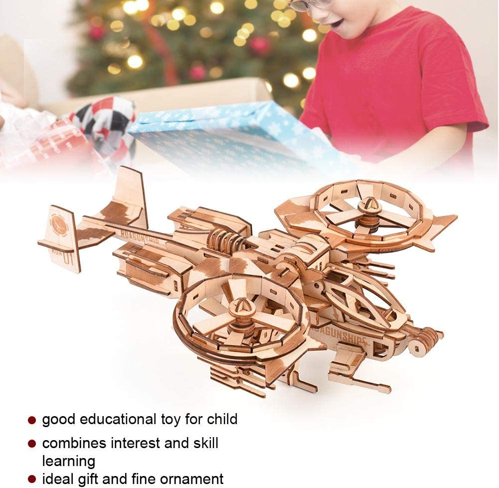 3D Wooden Puzzle DIY Assemble Toy Aircraft Jigsaw Assembly Model Gift Educational Crafts for Kids Children Adults