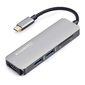 KiWiBiRD HUB USB C 3.1, Adaptador Tipo C Thunderbolt 3 a HDMI 4K, SD/Micro SD Lector de Tarjeta USB 3.0 Compatible con MacBook Pro/Air, iMac, iPad ...