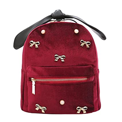 18ddaa7b4b BESTVECH Red Fashion Korean Women Bowknot Velvet Mini Backpack Travel Girls  Schoolbag  Amazon.in  Shoes   Handbags
