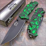 Cheap MASTER BALLISTIC Spring Assisted Opening GREEN SKULL RED EYES CAMO Rescue Knife