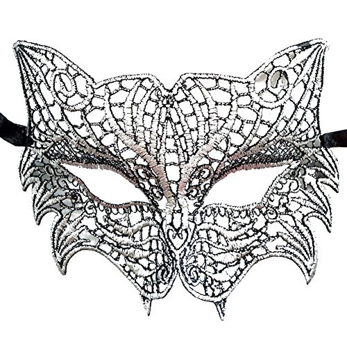 Coolwife Women's Venetian Crochet Ball Lace Masquerade Mask Halloween Fashion (Tiger Cat Silver Black) (Halloween Lace Cat Mask)