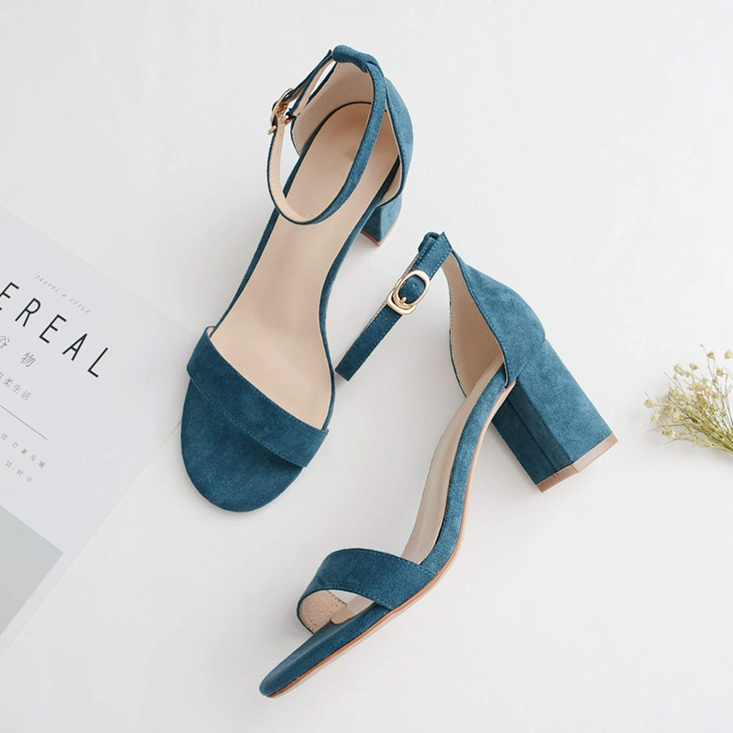 Sweet Studio Concise New Women Shoes Buckle Flock Leather Heel Sandals Square Heel high Heels Shoes Big Size 34-40 m921