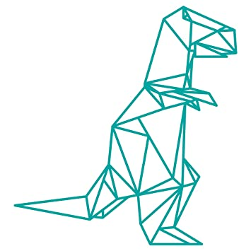 WANDKINGS Wandtattoo   Origami Style T Rex   102 X 110 Cm   Türkis