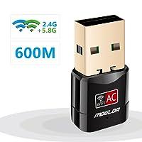 Adaptador Antena WiFi USB 600Mbps Mini Receptor 802.11AC con Dual Banda(5GHz 433Mbps/2.4GHz 150Mbps) 5dBi mini Wifi compatibie Windows 10/XP/7/8/8.1/vista/2000,Mac OS/linux
