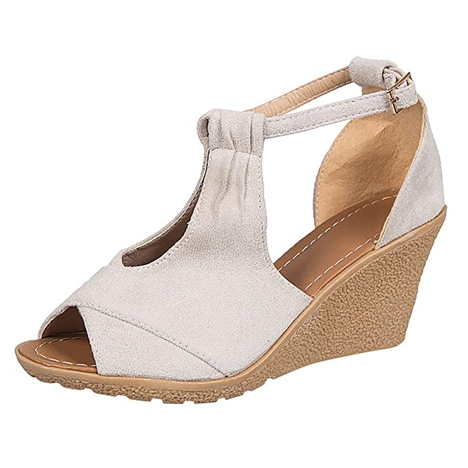 a9264540cd8dd Amazon.com: Malbaba Peep Toe Sandals, Womens Wedge Sandals Cut Out ...