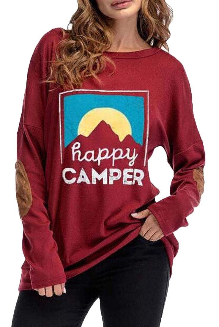 Hmarkt Womens Crew Neck Elbow Patch Long Sleeve Happy Sweatshirt Top T-Shirts