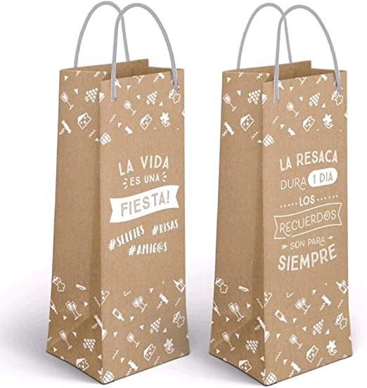 Desconocido Pack 2 Bolsa Papel Botella Craft FRASES-11,5X10X33 CM: Amazon.es: Hogar