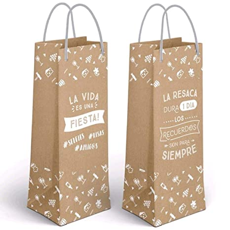 Desconocido Pack 2 Bolsa Papel Botella Craft FRASES-11,5X10X33 CM