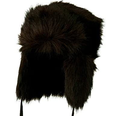 ac2f21ac76e Jeanne Simmons Faux Fur Ear Flap Trooper Hat - Black Brown OSFM at ...