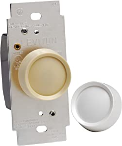 Leviton 6602-IW Trimatron 600W Electro Mechanical Incandescent Non-Preset Rotary Dimmer, Single Pole, White/Ivory
