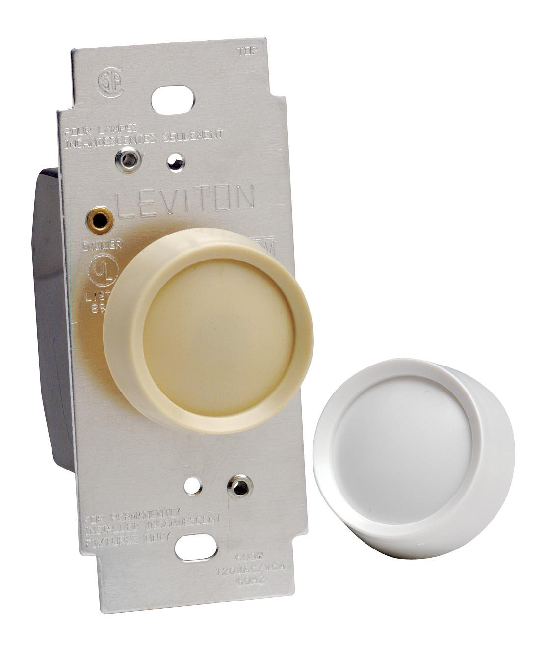 Leviton 6602-IW Trimatron 600W Incandescent Rotary Dimmer, Single Pole,  White/Ivory - Wall Dimmer Switches - Amazon.com