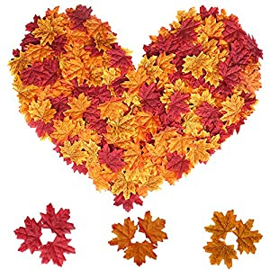 MerryNine 600 Assorted Mixed Deep Fall Colored Artificial Maple Leaves for Weddings, Thanks-Giving, Events and Outdoor Maple Leaf Cafe Decoration 104