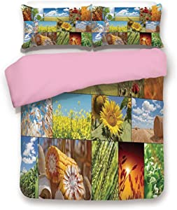 Pink 3pc Bedding Set,Crops Under Sun Sunflower Wheat Field Rustic Farm Theme Idyllic Landscapes Print Full Size Duvet Cover Set,Printed Comforter Cover with 2 Pillowcases for Women & Girls