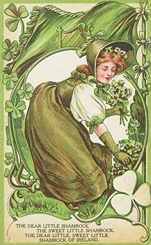 St. Patricks Day Poem with Woman Picking Shamrocks
