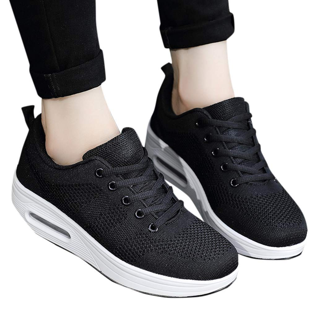 Women's Running Shoe Mesh Breathable Sport Shoe Air Cushion Shoes Platform Sneakers Lace-Up Walking Shoe By Lmtime(Black,36)