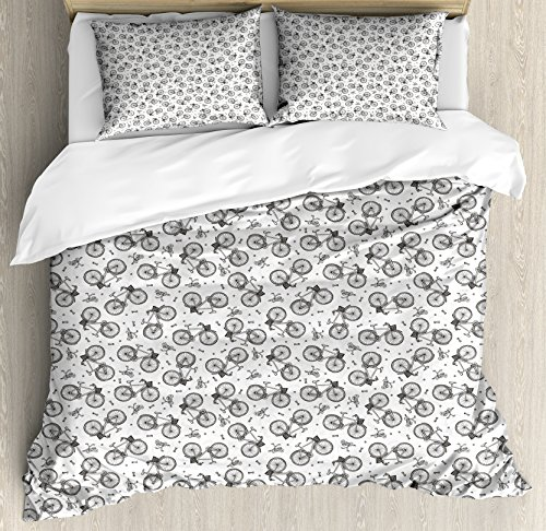 Bicycle Duvet Cover Set King Size by Ambesonne, Hand Drawn White and Black Adult and Child Bicycles with Baskets among Wrenches, Decorative 3 Piece Bedding Set with 2 Pillow Shams, Black White