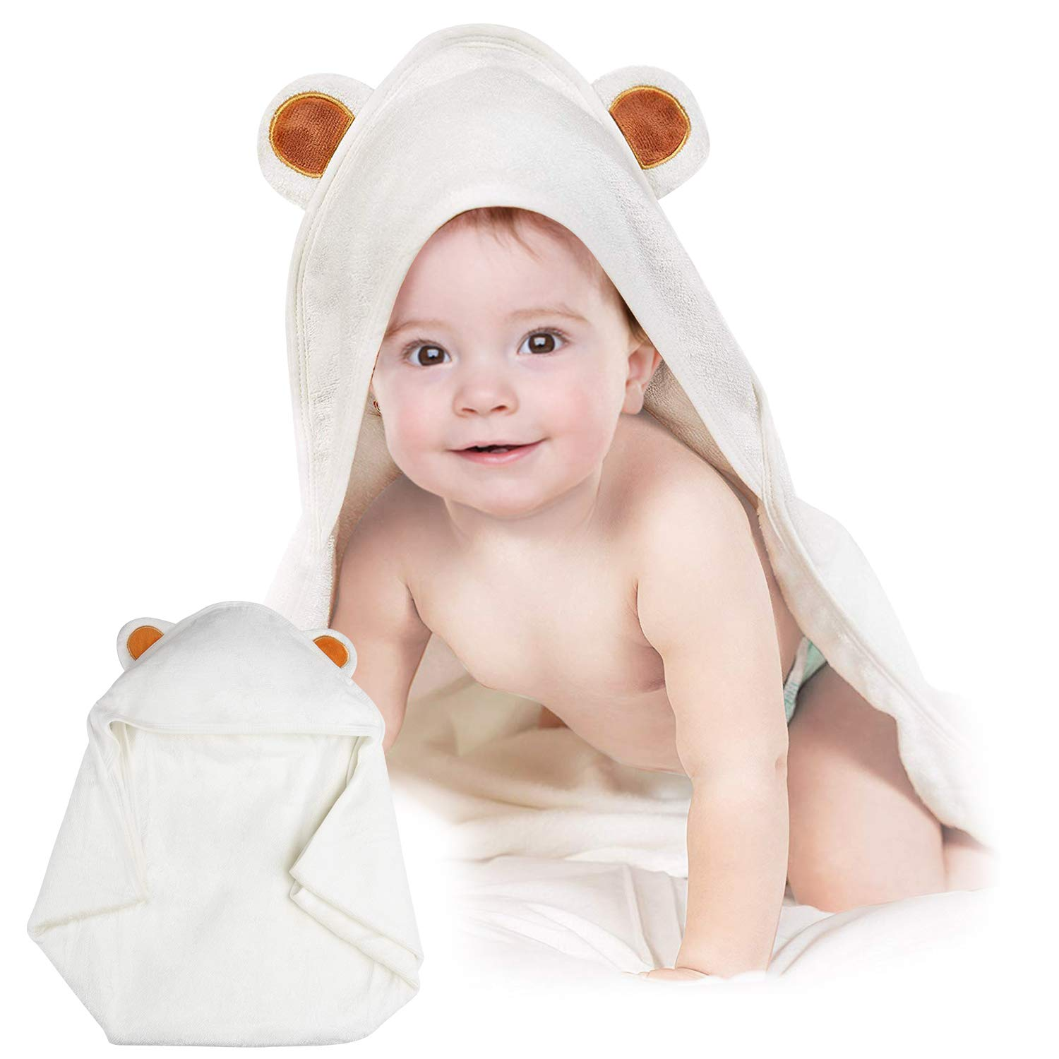 Hooded Baby Towel-Orthland Ultra Soft Baby Towels Antibacterial and Hypoallergenic Organic Bamboo Bath Wrap with Hood (35''x35'') for Newborn and Toddler (0-5 Years Boys and Girls) Baby Registry Gift