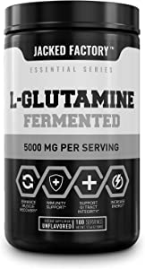 L-Glutamine (Fermented) Powder 5g, 100 Sv - Pure Vegan Glutamine Supplement for Post Workout Muscle Recovery, Immunity, Digestive Health - Tested & Trusted, No Artificial Fillers - Unflavored