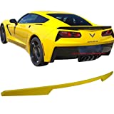 Pre-painted Trunk Spoiler Fits 2014-2018 Chevy Corvette | OE Factory Style ABS Painted Velocity Yellow Tintcoat #WA300N Rear Boot Lip Wing Other Color Available By IKON MOTORSPORTS | 2015 2016