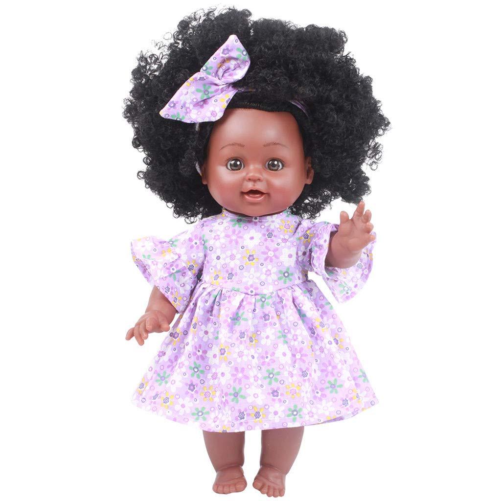 TianranRT Bambole nere della ragazza Bambole afroamericane della riproduzione Bambole realistiche del gioco del bambino di 35cm rosa