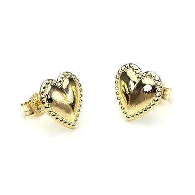 9ct Gold Beaded Heart Stud Earrings IlRBDyz7