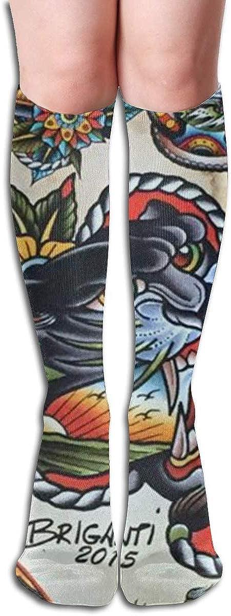 Tattoo Print Tiger Personality Sports Recreation Compression Socks Unisex Printed Socks Fun Long Cotton Socks Over The Calf Tube 19.7 Inch
