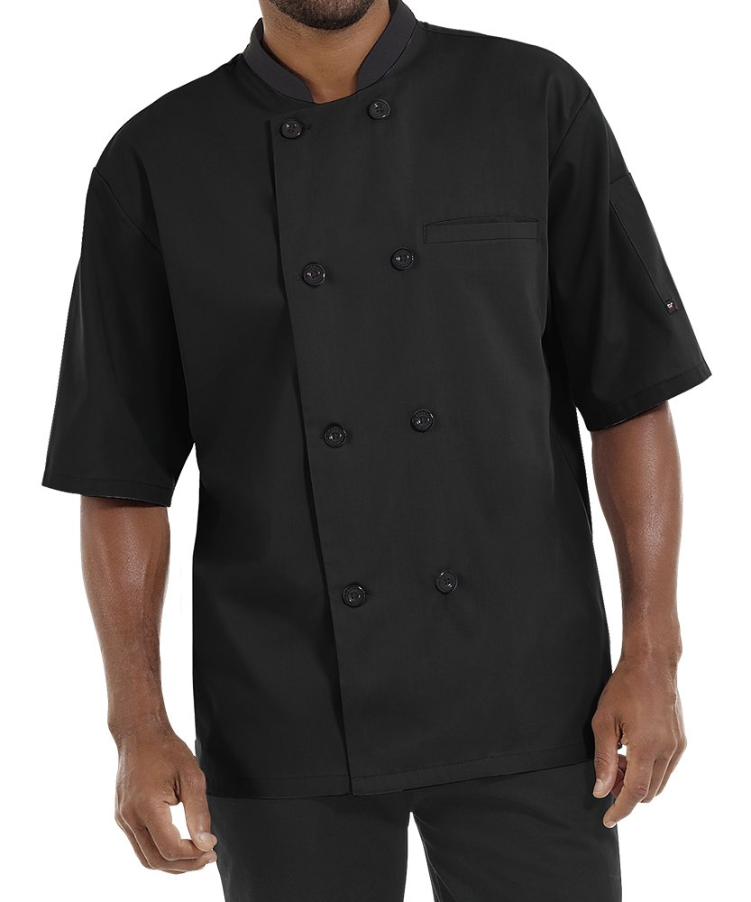Men's Lightweight Short Sleeve Chef Coat (S-5X, 3 Colors) (Large, Black)
