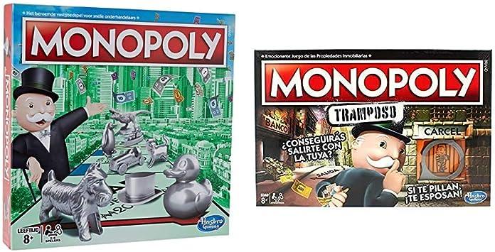 Hasbro - Classic - Monopoly (Versión Holandesa) (0604051) + Monopoly - Tramposo (Versión Española) (Hasbro E1871105): Amazon.es: Juguetes y juegos