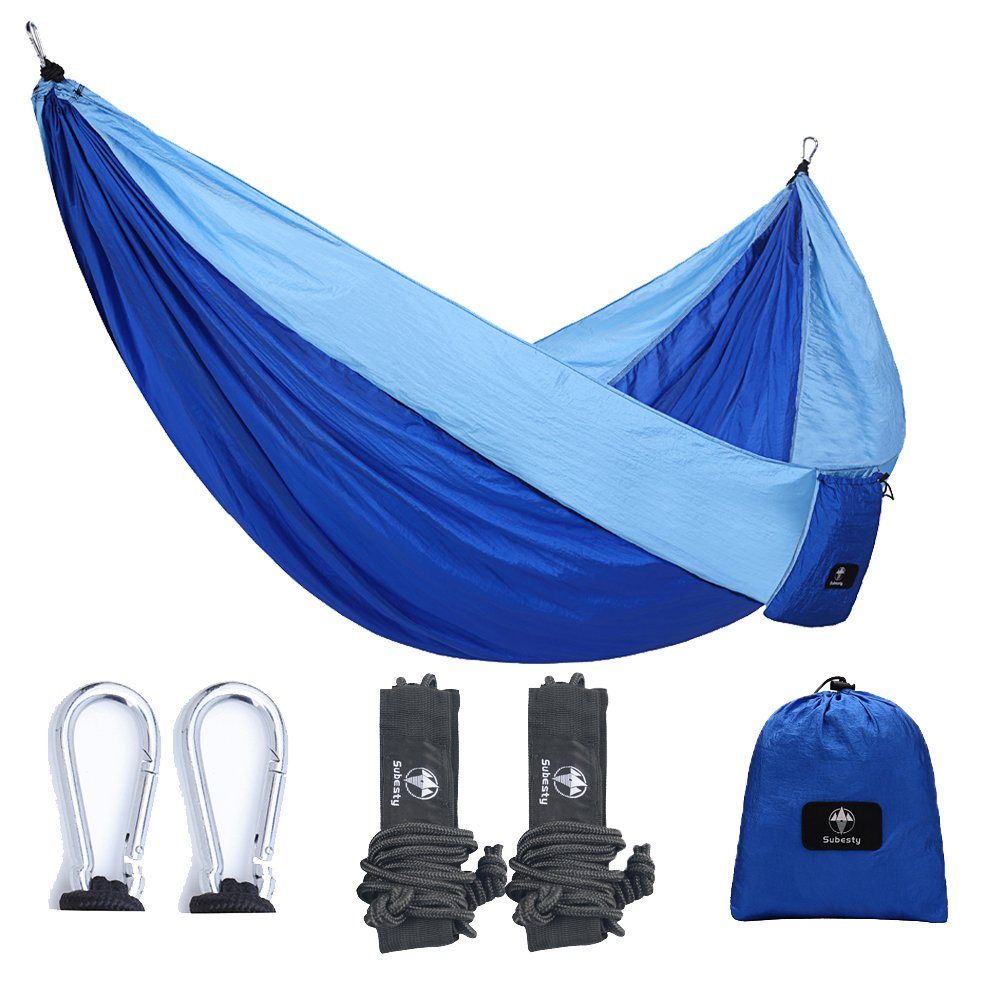 Subesty Parachute Camping Hmmock, Outdoor Double Hammock, Portable Ultralight Ripstop Nylon Hammock for Hiking, Backpacking, Traveling and Yard 118'(L) x 79'(W) Traveling and Yard 118(L) x 79(W)