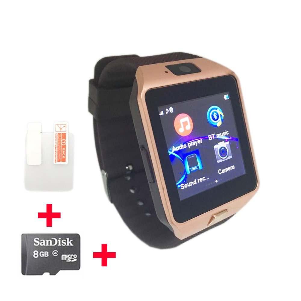 OCTelect GSM smart watch DZ09 with three LED lights & large capacity battery (gold)