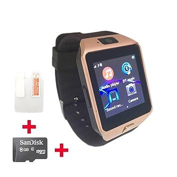 OCTelect reloj inteligente GSM DZ09 con tres luces LED y batería de gran capacidad (gold