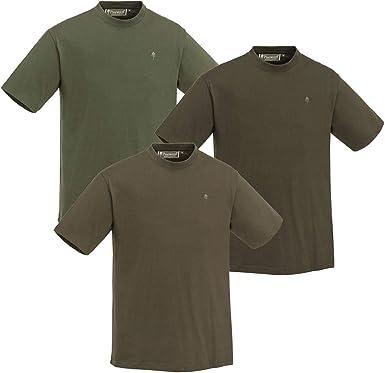 Pinewood Pack de 3 camisetas de manga corta para hombre, color verde/marrón/caqui