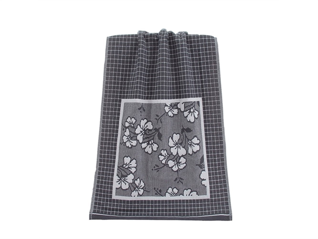 Wesource Activates Plaid Flower Adult Cotton Gauze Wash Face Towel Couple Absorbent Household Wiping Hand Towel(Grey)