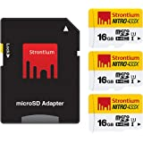 Strontium Nitro 16GB MicroSDHC Memory Card (3 Pack) with SD Adapter - 65MB/s, 433x, Class 10, UHS-1, U1